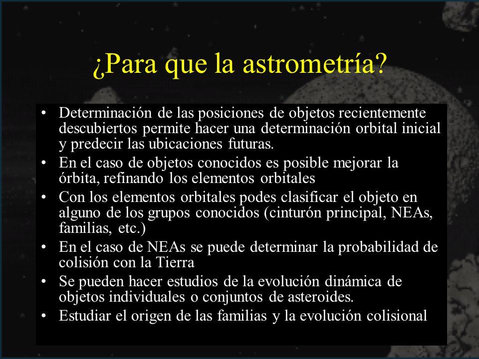 ¿Para que la astrometría? Determinación de las posiciones de objetos recientemente descubiertos permite hacer una determinación orbital inicial y pred