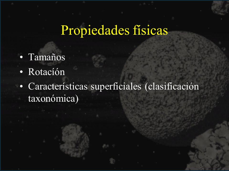 Propiedades físicas Tamaños Rotacíón Características superficiales (clasificación taxonómica)