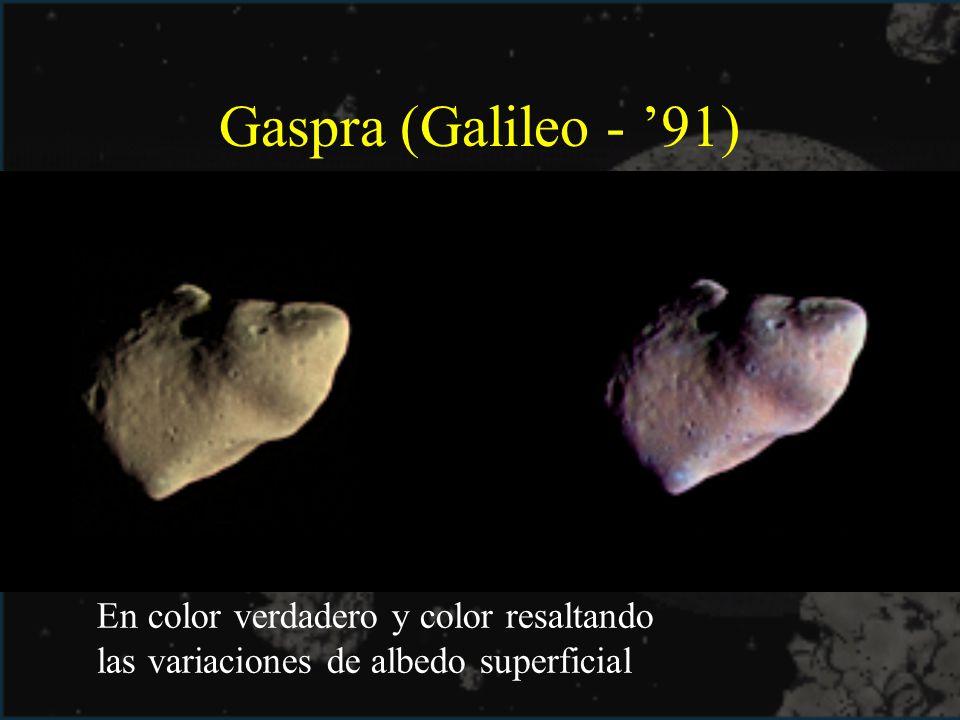 Gaspra (Galileo - 91) En color verdadero y color resaltando las variaciones de albedo superficial