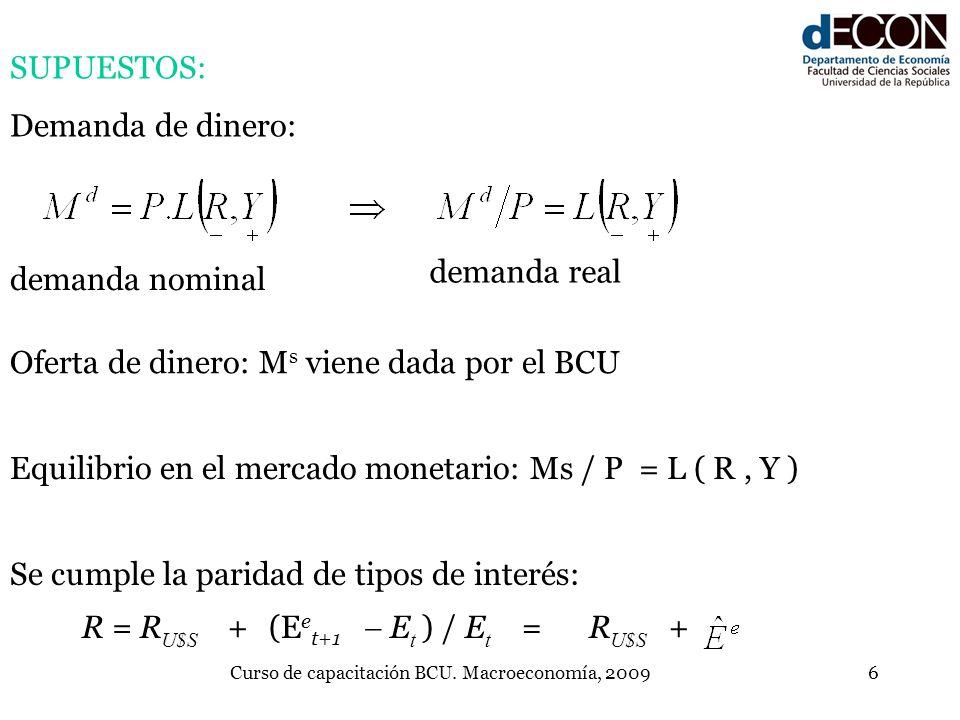 Curso de capacitación BCU. Macroeconomía, 20096 demanda nominal demanda real SUPUESTOS: Demanda de dinero: Oferta de dinero: M s viene dada por el BCU