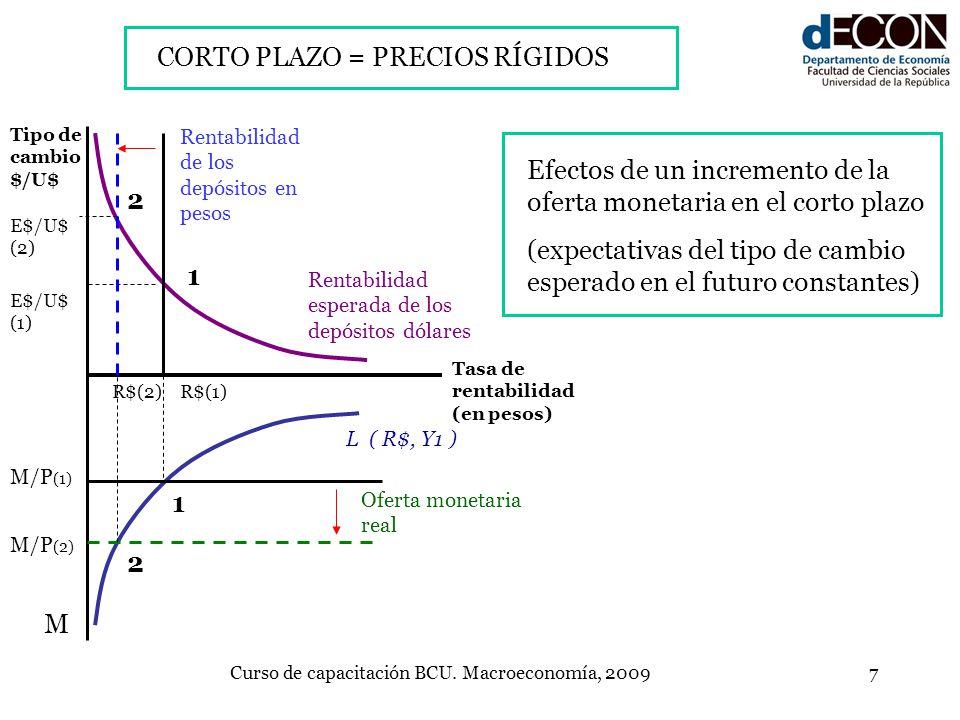 Curso de capacitación BCU. Macroeconomía, 20097 L ( R$, Y1 ) Rentabilidad de los depósitos en pesos Rentabilidad esperada de los depósitos dólares Tip