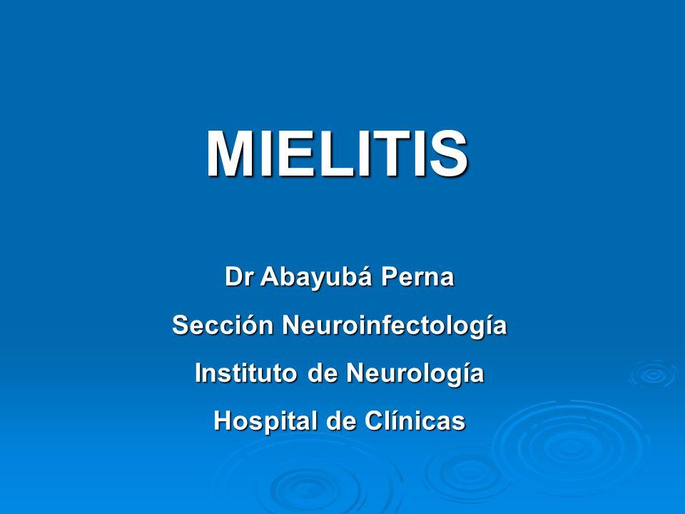MIELITIS Dr Abayubá Perna Sección Neuroinfectología Instituto de Neurología Hospital de Clínicas