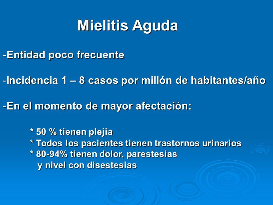 Mielitis Aguda -Entidad poco frecuente -Incidencia 1 – 8 casos por millón de habitantes/año -En el momento de mayor afectación: * 50 % tienen plejia * Todos los pacientes tienen trastornos urinarios * 80-94% tienen dolor, parestesias y nivel con disestesias y nivel con disestesias
