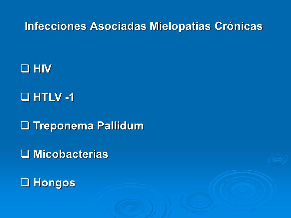 Infecciones Asociadas Mielopatías Crónicas HIV HIV HTLV -1 HTLV -1 Treponema Pallidum Treponema Pallidum Micobacterias Micobacterias Hongos Hongos