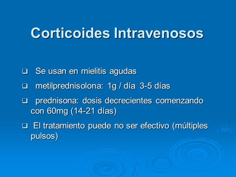 Corticoides Intravenosos Se usan en mielitis agudas Se usan en mielitis agudas metilprednisolona: 1g / día 3-5 días metilprednisolona: 1g / día 3-5 días prednisona: dosis decrecientes comenzando con 60mg (14-21 días) prednisona: dosis decrecientes comenzando con 60mg (14-21 días) El tratamiento puede no ser efectivo (múltiples pulsos) El tratamiento puede no ser efectivo (múltiples pulsos)