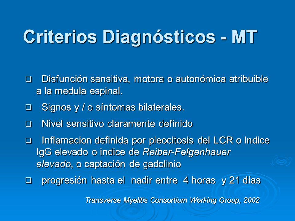 Criterios Diagnósticos - MT Disfunción sensitiva, motora o autonómica atribuible a la medula espinal.