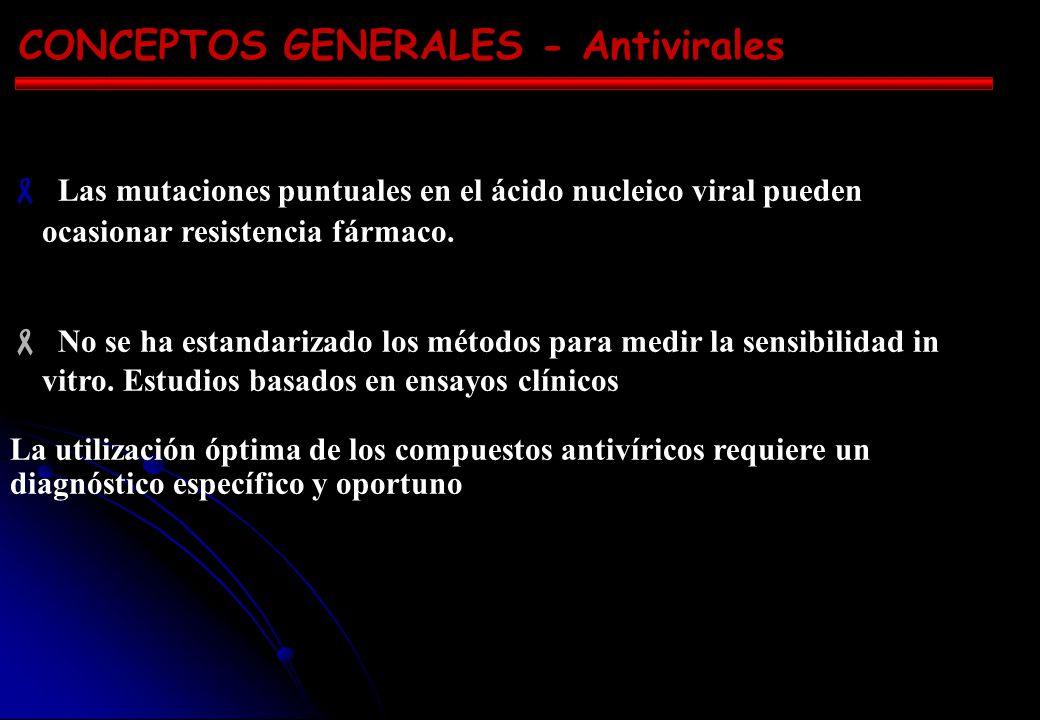 CONCEPTOS GENERALES - Antivirales Las mutaciones puntuales en el ácido nucleico viral pueden ocasionar resistencia fármaco.