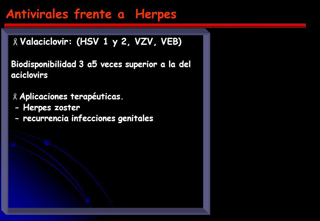 Antivirales frente a Herpes Aciclovir: (HSV 1 y 2, VZV, VEB) MA: bloque la síntesis de ADN viral y replicación, compitiendo con dGTP. Previamente debe