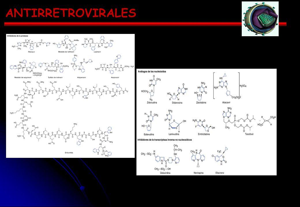 ANTIRRETROVIRALES Inhibidores de la transcriptasa innversa (ITI) Análogos No nucleosídicos Nucleosídicos (ITIN) (ITINN) zidovudina nevirapina didanosi
