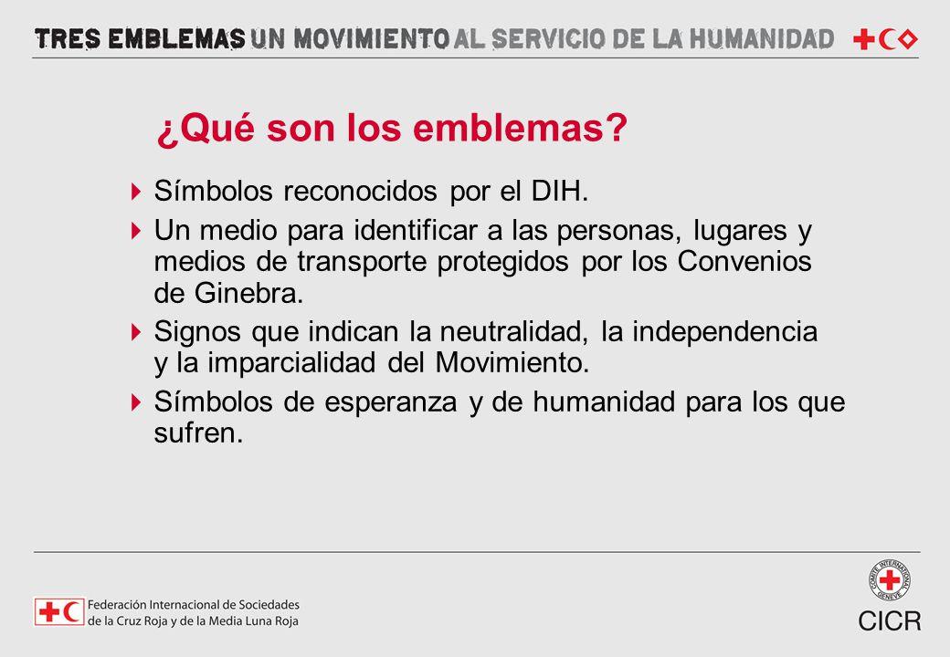 Símbolos reconocidos por el DIH. Un medio para identificar a las personas, lugares y medios de transporte protegidos por los Convenios de Ginebra. Sig