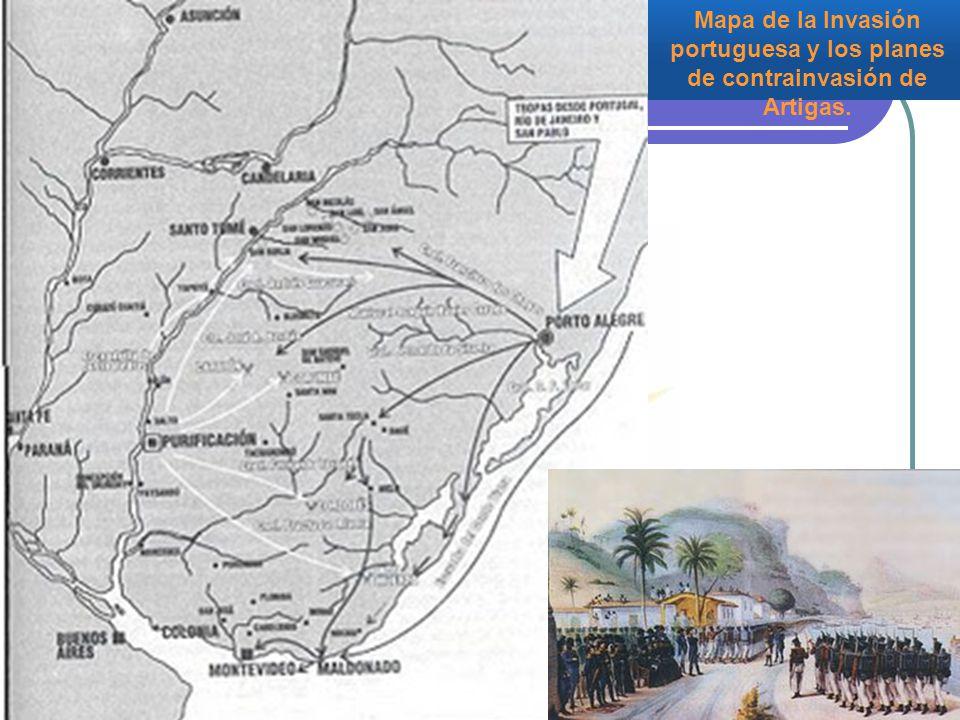 Mapa de la Invasión portuguesa y los planes de contrainvasión de Artigas.
