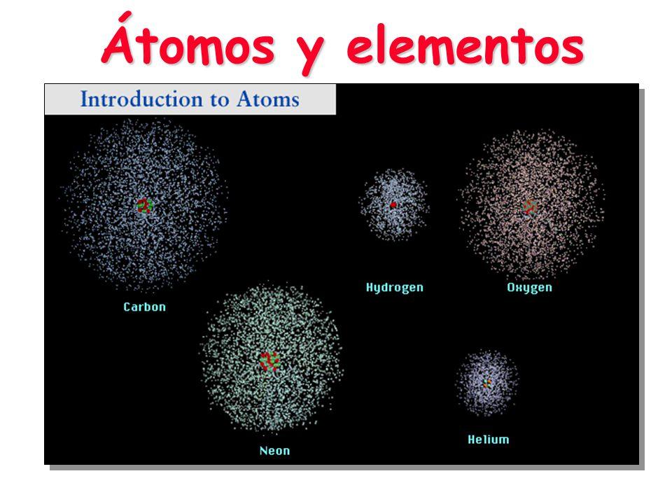 Un átomo consiste en: Un núcleo: integrado por protones y neutronesUn núcleo: integrado por protones y neutrones Una periferia (rodea al núcleo) : integrada por electronesUna periferia (rodea al núcleo) : integrada por electrones El Átomo Nube de electrones periféricos Núcleo central