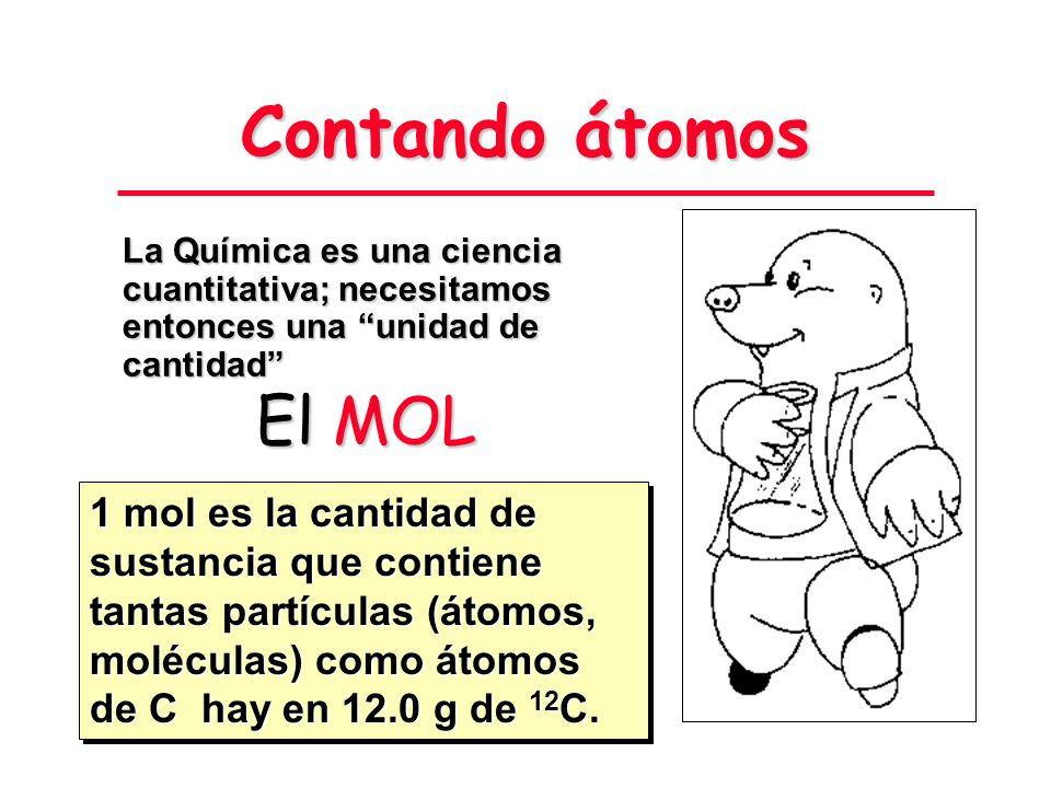 Contando átomos El Mg reacciona con el O 2 del aire produciendo óxido de magnesio, MgO. ¿Cómo averiguar qué masa de óxido se obtiene a partir de ciert