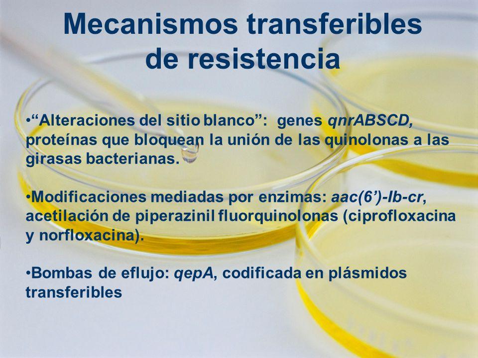 Mecanismos transferibles de resistencia Alteraciones del sitio blanco: genes qnrABSCD, proteínas que bloquean la unión de las quinolonas a las girasas bacterianas.