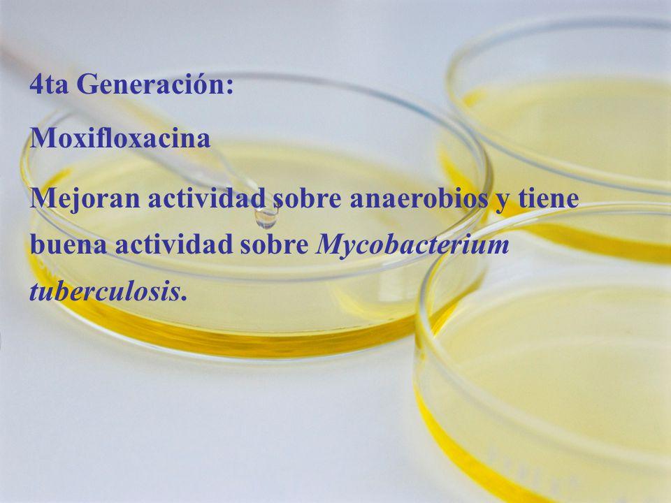 4ta Generación: Moxifloxacina Mejoran actividad sobre anaerobios y tiene buena actividad sobre Mycobacterium tuberculosis.