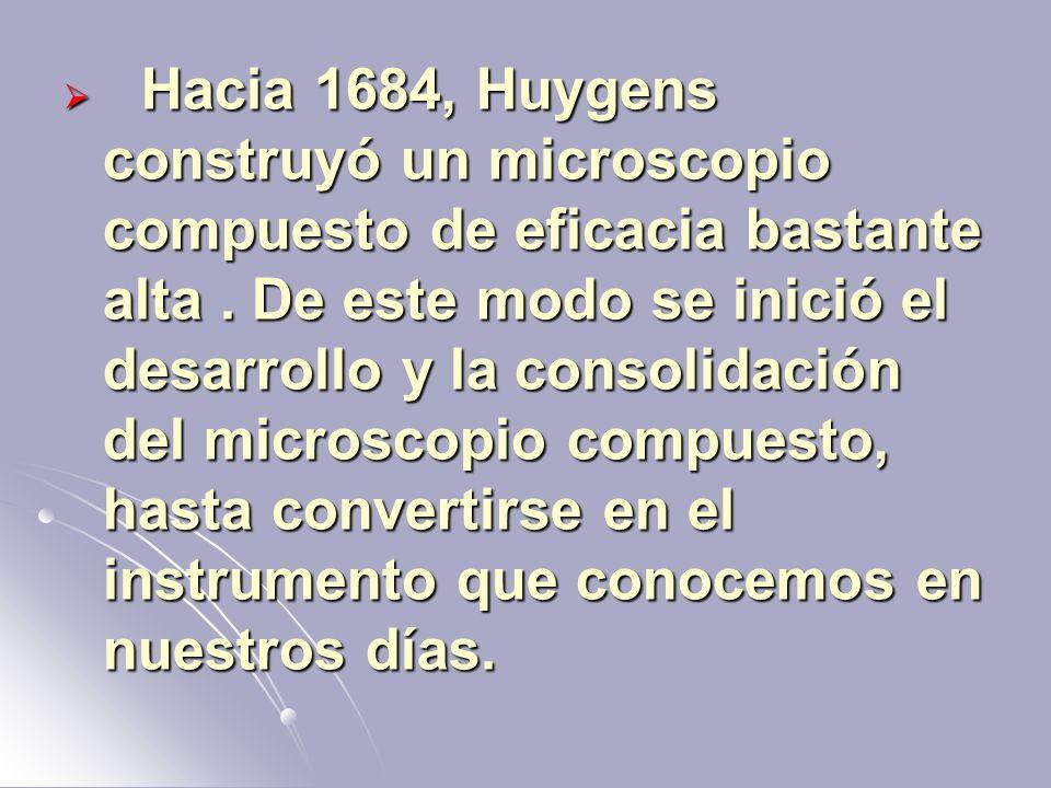 Hacia 1684, Huygens construyó un microscopio compuesto de eficacia bastante alta. De este modo se inició el desarrollo y la consolidación del microsco