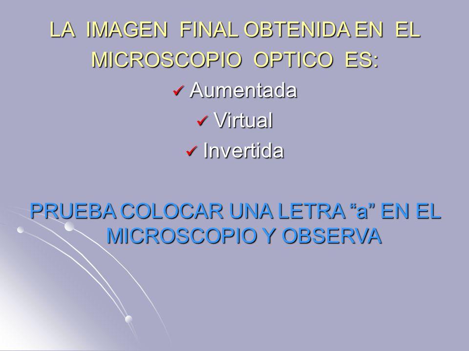 LA IMAGEN FINAL OBTENIDA EN EL MICROSCOPIO OPTICO ES: Aumentada Aumentada Virtual Virtual Invertida Invertida PRUEBA COLOCAR UNA LETRA a EN EL MICROSCOPIO Y OBSERVA