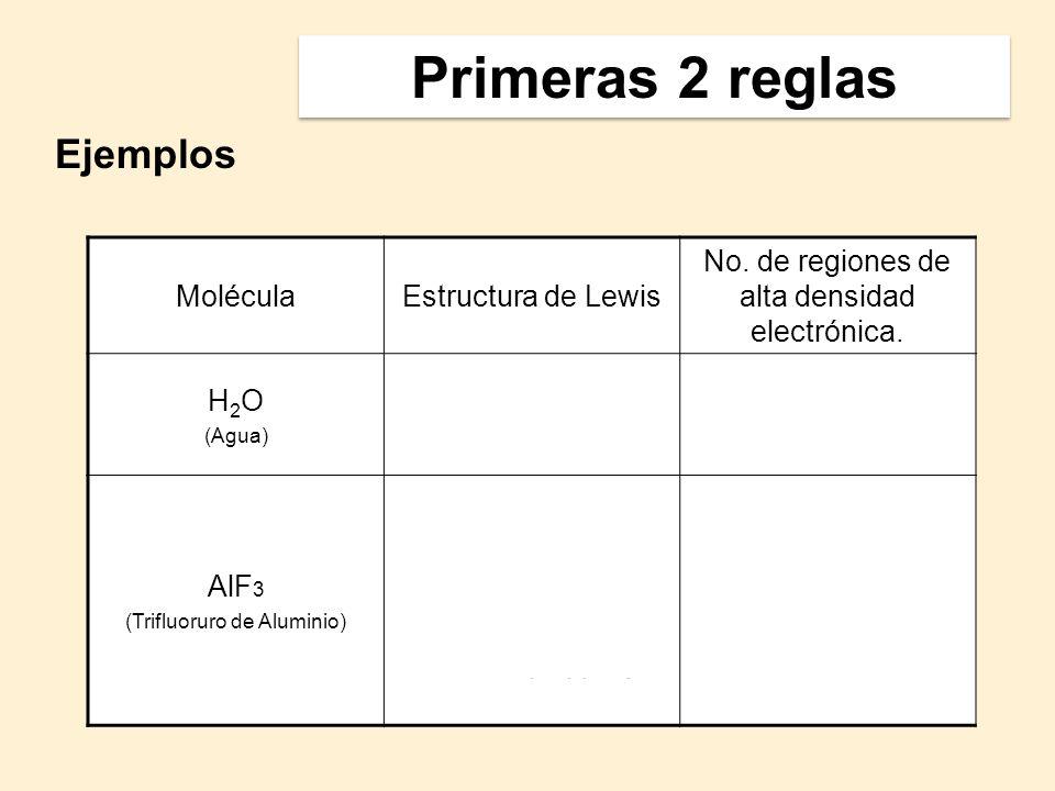 MoléculaEstructura de Lewis No. de regiones de alta densidad electrónica. H 2 O (Agua) 4 AlF 3 (Trifluoruro de Aluminio) 3 Ejemplos Primeras 2 reglas