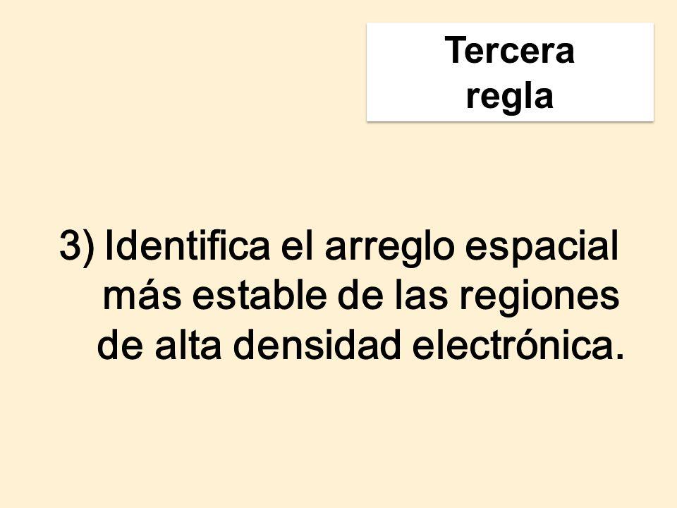 3)Identifica el arreglo espacial más estable de las regiones de alta densidad electrónica. Tercera regla Tercera regla