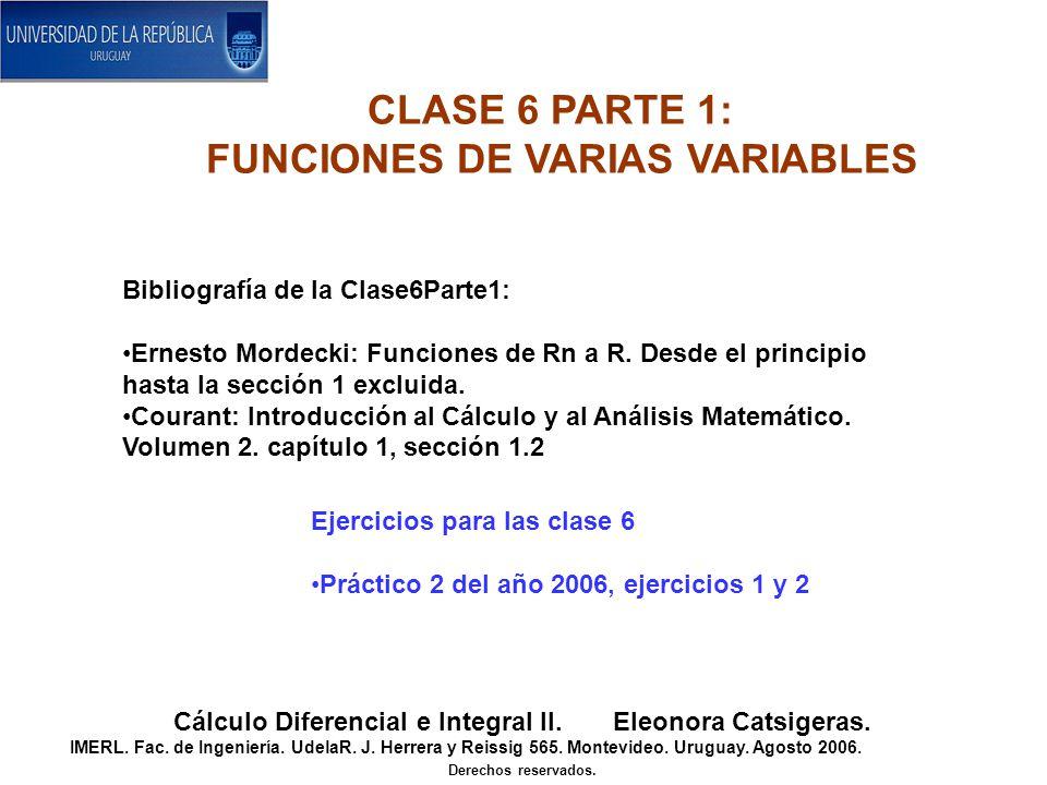 Bibliografía de la Clase6Parte1: Ernesto Mordecki: Funciones de Rn a R.