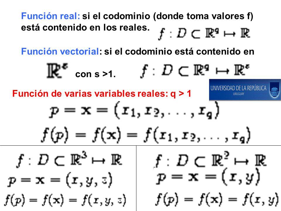 Función real: si el codominio (donde toma valores f) está contenido en los reales.