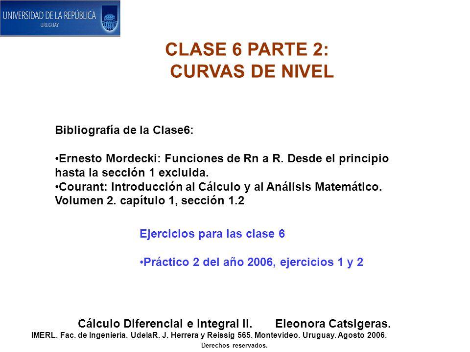 Bibliografía de la Clase6: Ernesto Mordecki: Funciones de Rn a R.