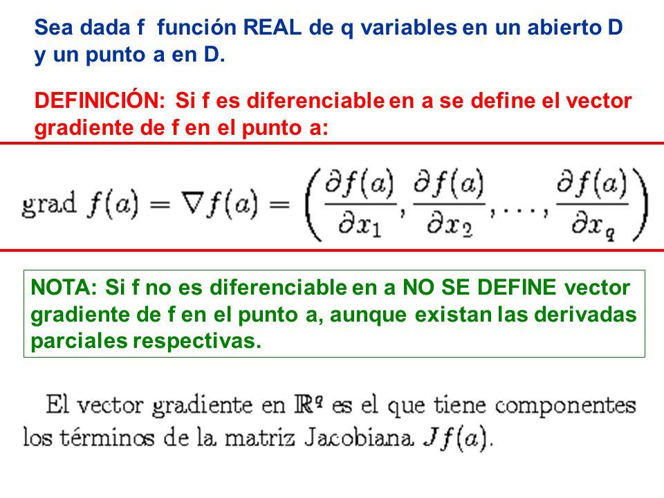 DIFERENCIAL Y GRADIENTE: El diferencial de f en el punto a es el producto escalar del gradiente por el vector incremento Delta x.