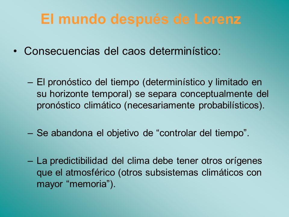 El mundo después de Lorenz Consecuencias del caos determinístico: –El pronóstico del tiempo (determinístico y limitado en su horizonte temporal) se separa conceptualmente del pronóstico climático (necesariamente probabilísticos).