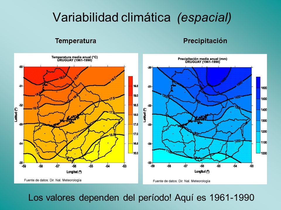 Variabilidad climática (espacial) Los valores dependen del período.