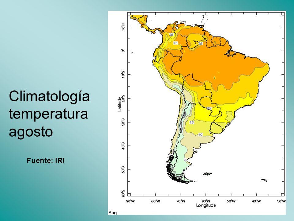 Climatología temperatura agosto Fuente: IRI