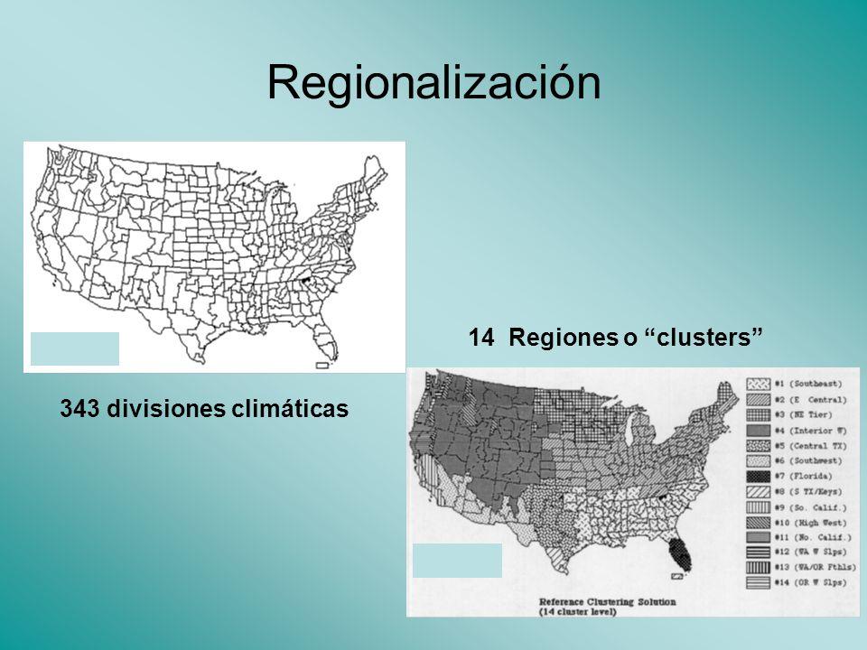 Regionalización 343 divisiones climáticas 14 Regiones o clusters