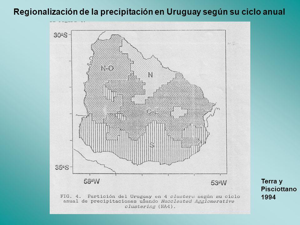 Regionalización de la precipitación en Uruguay según su ciclo anual Terra y Pisciottano 1994