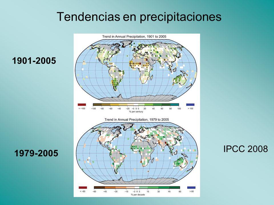 Tendencias en precipitaciones 1901-2005 1979-2005 IPCC 2008