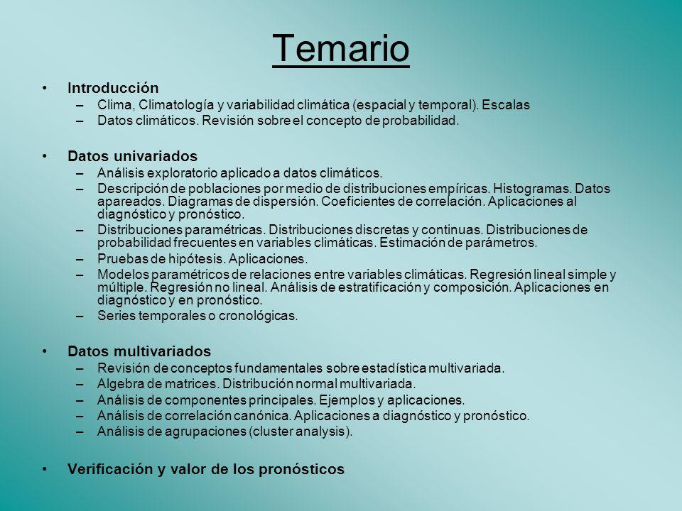 Temario Introducción –Clima, Climatología y variabilidad climática (espacial y temporal).