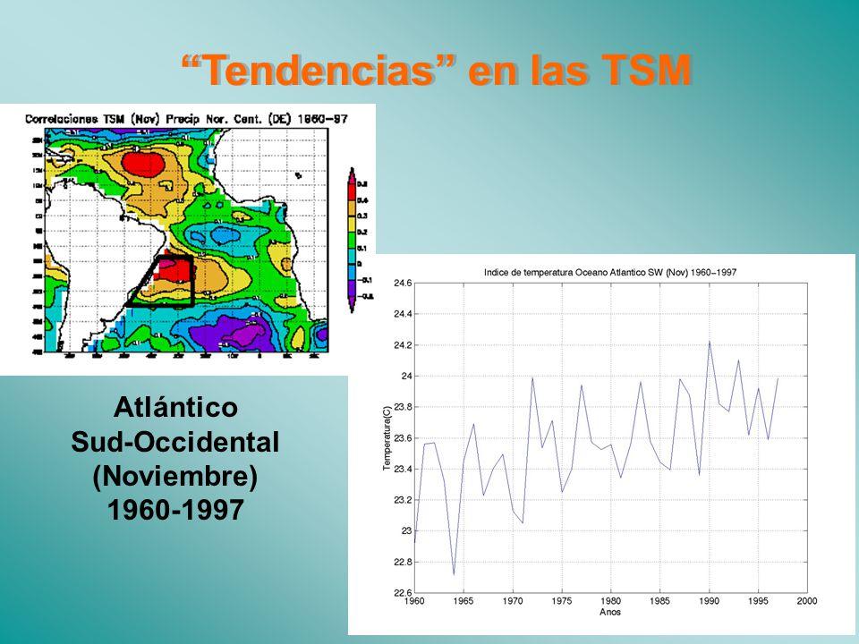 Tendencias en las TSM Atlántico Sud-Occidental (Noviembre) 1960-1997