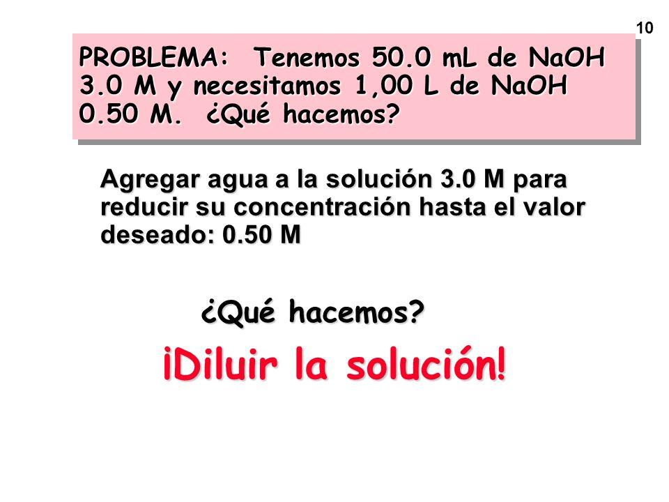 10 PROBLEMA: Tenemos 50.0 mL de NaOH 3.0 M y necesitamos 1,00 L de NaOH 0.50 M. ¿Qué hacemos? Agregar agua a la solución 3.0 M para reducir su concent