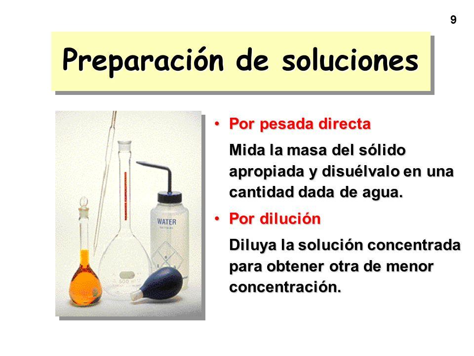 9 Preparación de soluciones Por pesada directaPor pesada directa Mida la masa del sólido apropiada y disuélvalo en una cantidad dada de agua. Por dilu