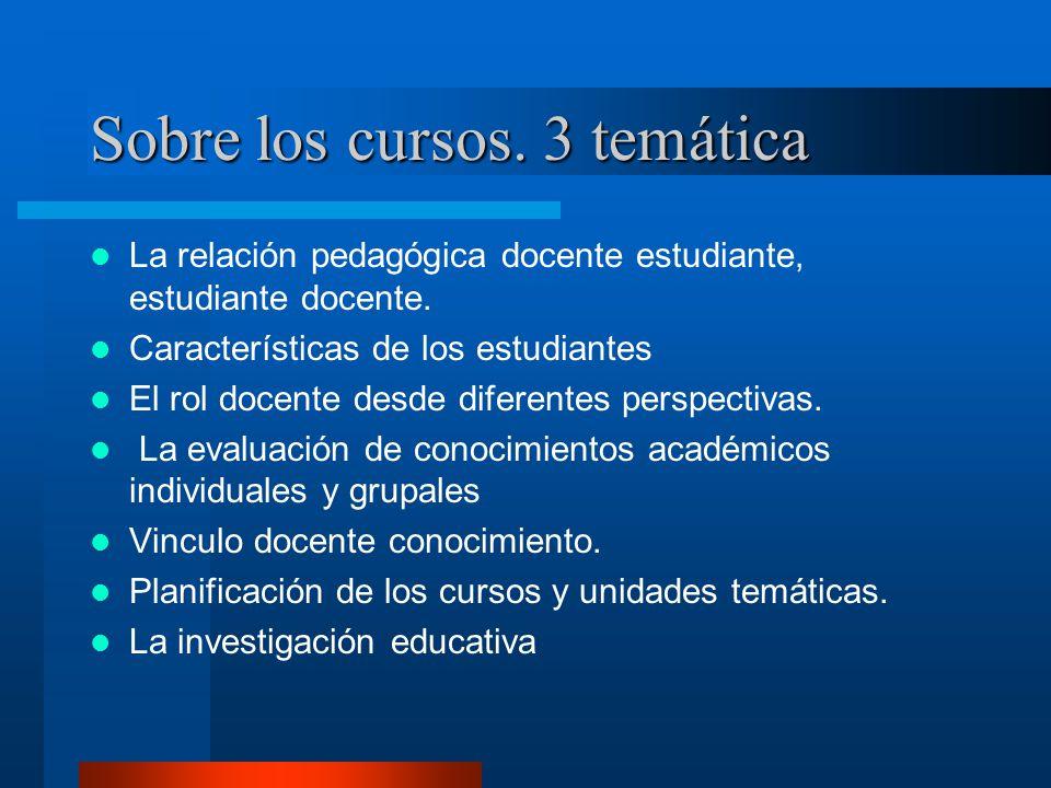 Sobre los cursos.3 temática La relación pedagógica docente estudiante, estudiante docente.