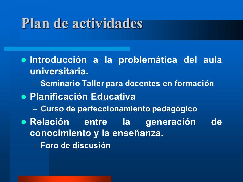 Plan de actividades Introducción a la problemática del aula universitaria. –Seminario Taller para docentes en formación Planificación Educativa –Curso