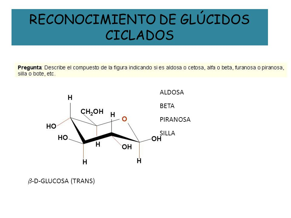 RECONOCIMIENTO DE GLÚCIDOS CICLADOS ALDOSA BETA PIRANOSA SILLA -D-GLUCOSA (TRANS)
