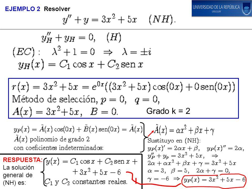 RESPUESTA: La solución general de (NH) es: EJEMPLO 2 Resolver Grado k = 2