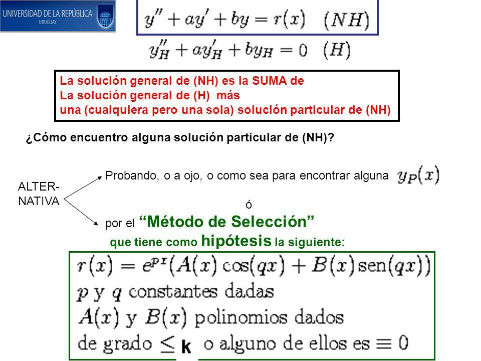 La solución general de (NH) es la SUMA de La solución general de (H) más una (cualquiera pero una sola) solución particular de (NH) ¿Cómo encuentro al