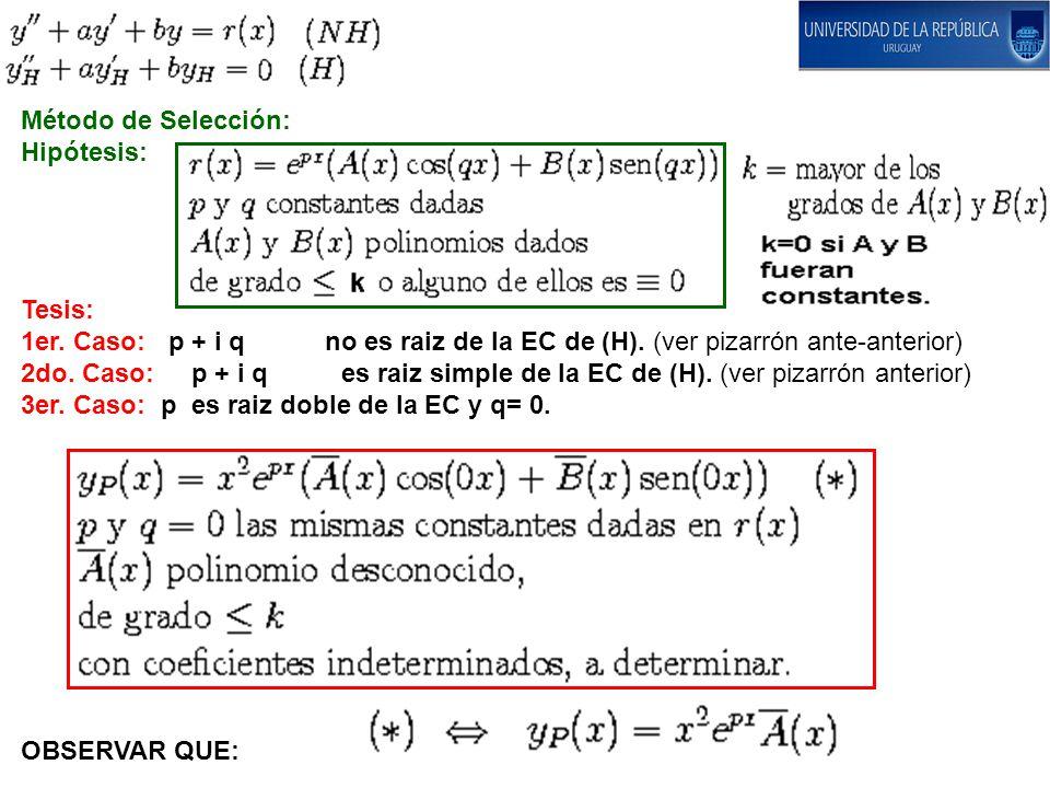 Método de Selección: Hipótesis: Tesis: 1er. Caso: p + i q no es raiz de la EC de (H). (ver pizarrón ante-anterior) 2do. Caso: p + i q es raiz simple d