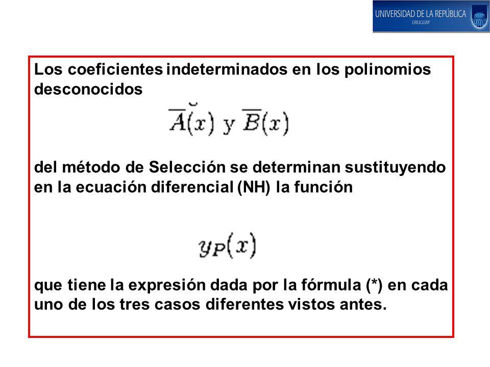 Los coeficientes indeterminados en los polinomios desconocidos del método de Selección se determinan sustituyendo en la ecuación diferencial (NH) la f