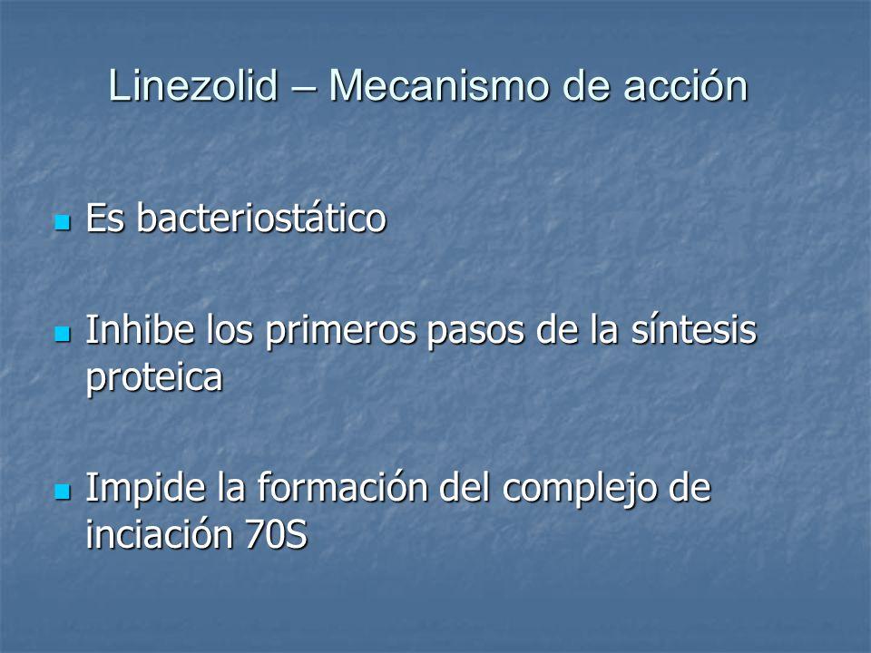 Linezolid – Mecanismo de acción Es bacteriostático Es bacteriostático Inhibe los primeros pasos de la síntesis proteica Inhibe los primeros pasos de l