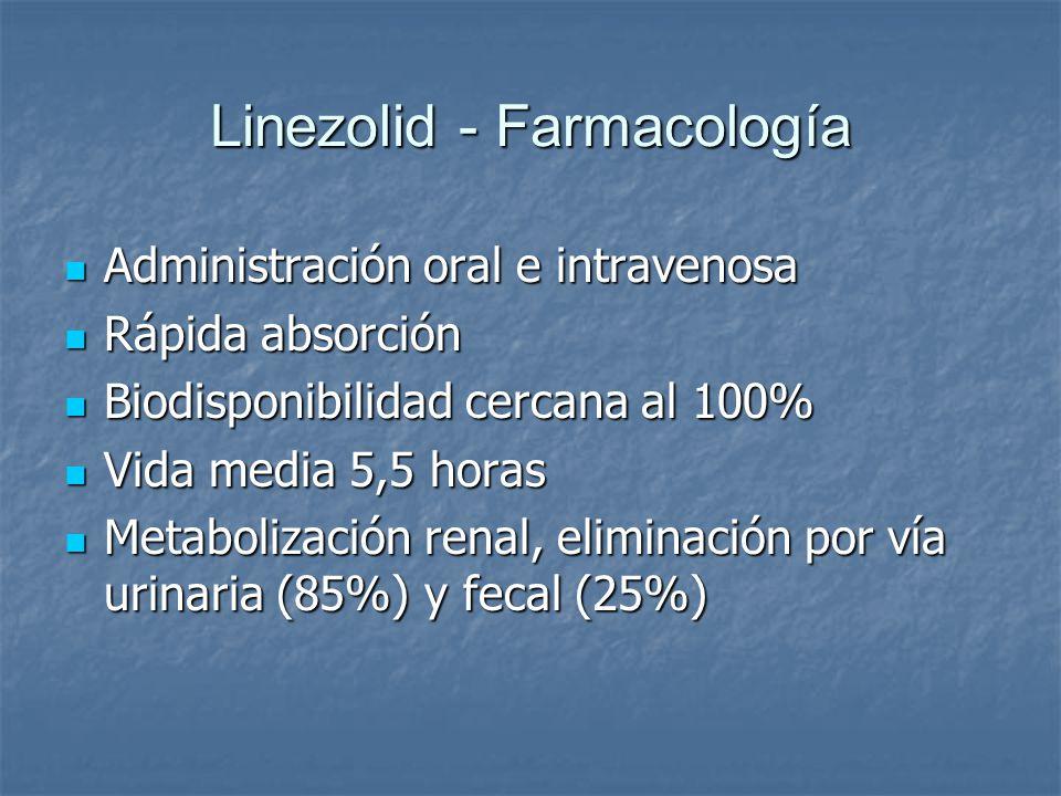 Linezolid - Farmacología Administración oral e intravenosa Administración oral e intravenosa Rápida absorción Rápida absorción Biodisponibilidad cerca