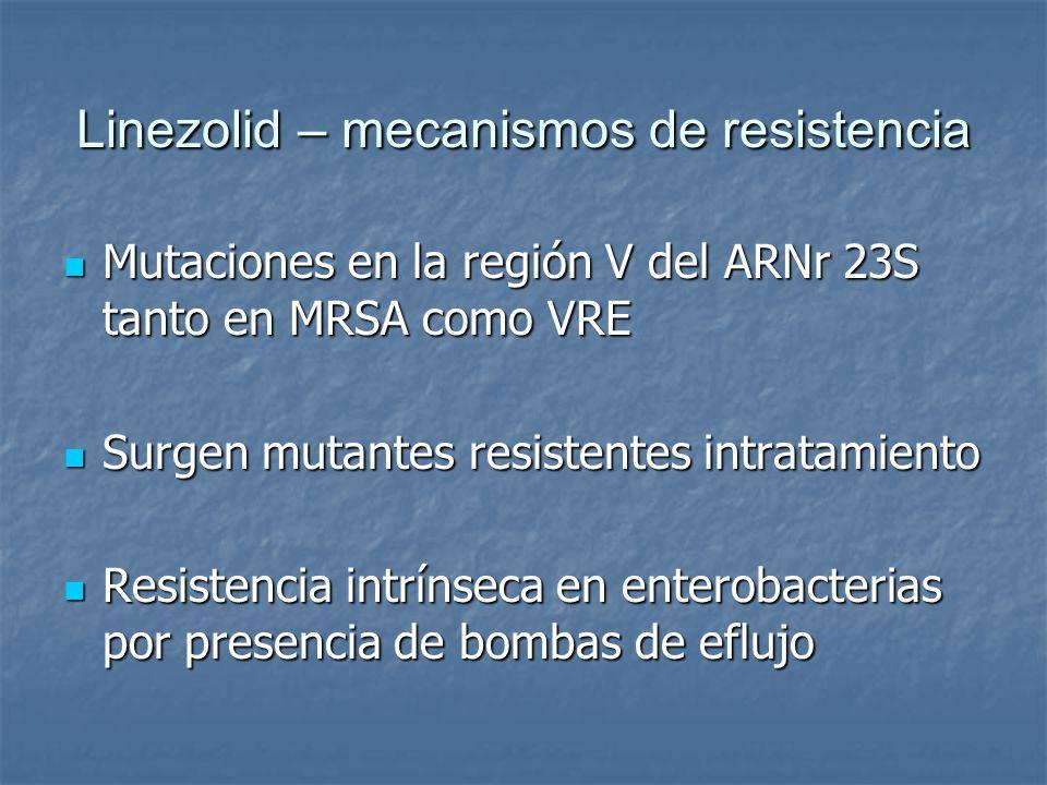 Linezolid – mecanismos de resistencia Mutaciones en la región V del ARNr 23S tanto en MRSA como VRE Mutaciones en la región V del ARNr 23S tanto en MR