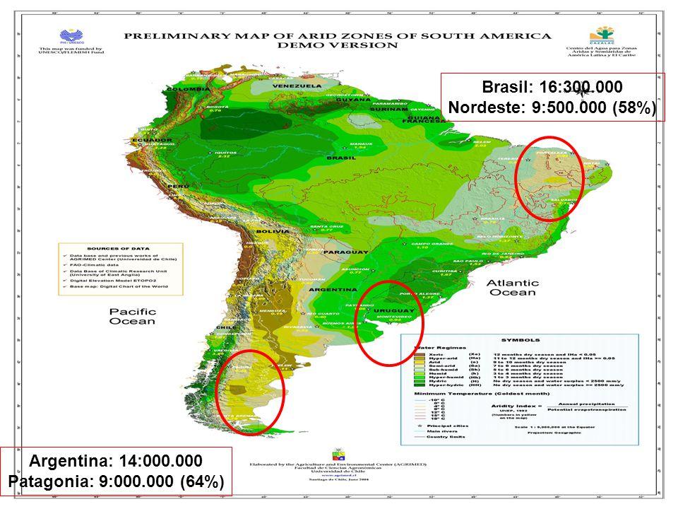 Brasil: 16:300.000 Nordeste: 9:500.000 (58%) Argentina: 14:000.000 Patagonia: 9:000.000 (64%)