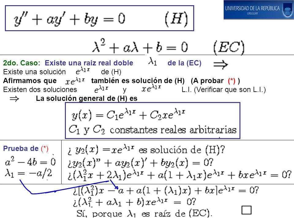 Prueba de (*) 2do. Caso: Existe una raiz real doble de la (EC) Existe una solución de (H) Afirmamos que también es solución de (H) (A probar (*) ) Exi