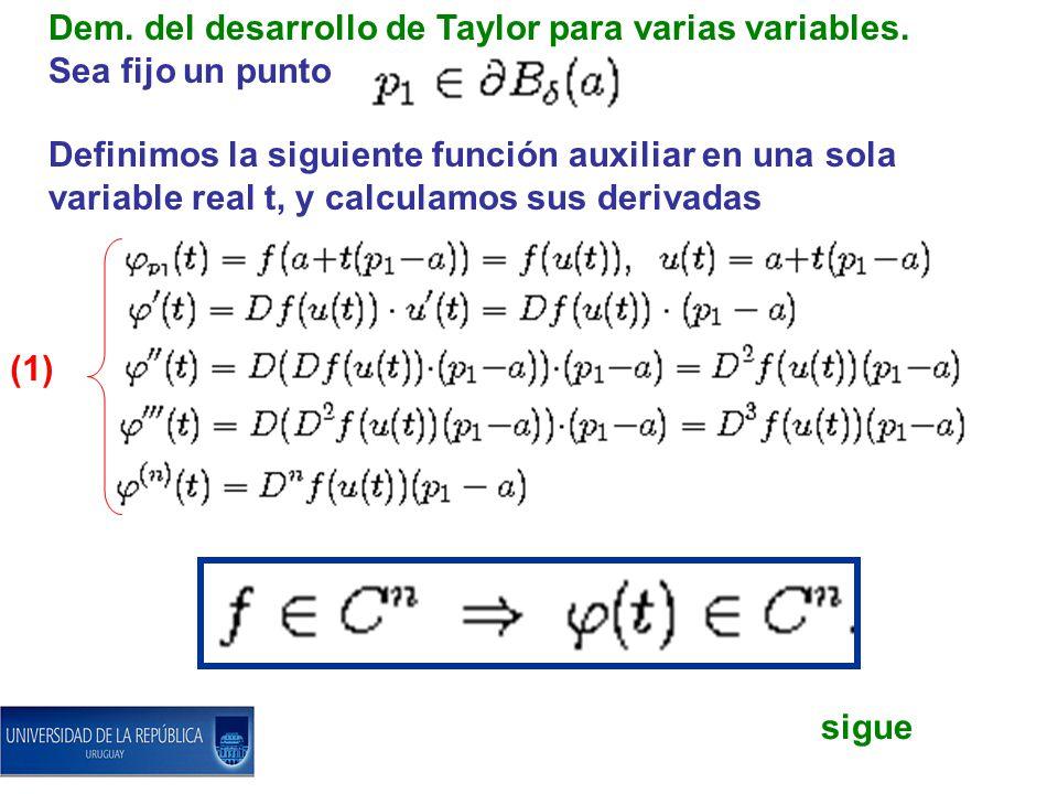 Dem. del desarrollo de Taylor para varias variables. Sea fijo un punto Definimos la siguiente función auxiliar en una sola variable real t, y calculam